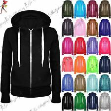 Womens Plain Zip Hoodie Ladies Hooded Zipper Sweat Shirt Jacket Coat Sweater Top
