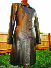 VINTAGE GENUINE LEATHER COAT TAILORED FITTED ELEGANT CLASSY CHIC BLACK 12 14