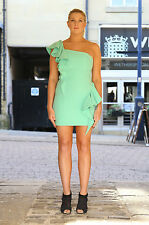 Women's sexy mint asymmetric one shoulder frill peplum bodycon tight dress mini