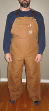 CARHARTT Bib Overalls Quilt-Lined R41 BRN-Zip to Thigh Leg Opening NWT