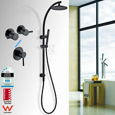WELS Matt Black Brass Rain Handheld Shower Head Sliding Rail Arm Mixer Tap Set