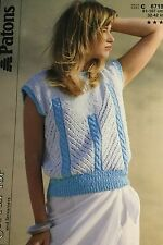 Patons Cotton Knitting Pattern, Women's Short Sleeved Top Size 32/42