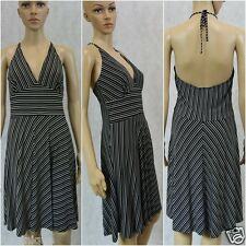 **NUANCE** High quality Made in USA Sexy Halter Striped Dress M 10 12 L 14 Black
