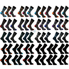 12, 6 or 3 Pairs Black Gray Cotton Rich Men's Socks Soft Cuff, Lycra UK 6-11