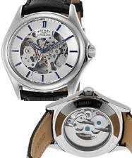 Rotary Automatic Mens Watch Skeleton Black Leather strap Waterproof RRP £180