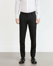 Zara Man Wool Suit Trousers Black Size M 75% OFF