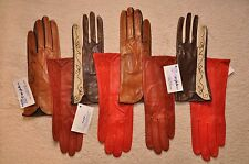 Women Italian geinuine Lambskin nappa Leather Suede unlined colorful Gloves
