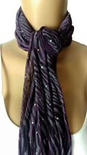 New Ladies Womens Lightweight Sequin Sparkly Scarves Animal Print Scarf