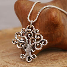 925 Sterling Silver Detailed Tree Of Life Pendant and Snake Chain Necklace Boxed