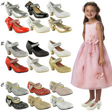 CHILDRENS GIRLS KIDS HIGH MID HEEL DIAMANTE PARTY SHOES BRIDESMAID SANDALS SIZE