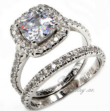 Princess HALO Engagement Ring/Wedding Band SET Sterling Silver Cubic Zirconia CZ