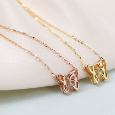 Pure 18K Gold Butterfly Smart Pendant with Chain Necklace Stamp Au750