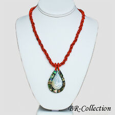 Beaded Necklace with a Natural Abalone Shell Pendant, Black or Red