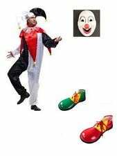 Adult CLOWN COSTUME Fancy Dress Halloween Circus Party Funny Mens Mask Shoes M2