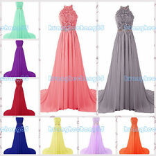 Halter lace and Chiffon Chiffon Prom Dress Ball Gown Evening Bridesmaid Dress