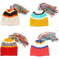Baby Childrens Girl Boy Cap Winter Warm Wool Knitted Cable Bobble Ski Beanie Hat
