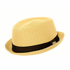 Unisex Crushable Packable Straw Summer Beach Sun Pork Pie Trilby Hat With Band