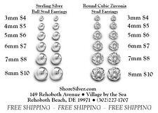 Sterling Silver Ball Post Stud or Round Cubic Zirconia CZ Stud Earrings
