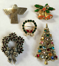 Lot of 5 Vintage Assorted Holiday Christmas Brooches Pins Wreath Bell Tree Angel