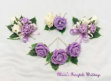 WEDDING FLOWERS BUTTONHOLE CORSAGE PACKAGE SWEET LILAC ROSE DIAMANTE CRYSTAL