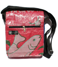 Recycled Fish Feed Messenger Bag Handmade in Cambodia Fair Trade