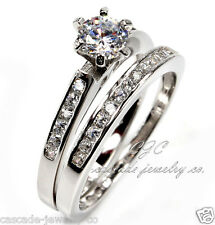 1ct Round Engagement Ring /Wedding Band SOLID Sterling Silver/Cubic Zirconia CZ