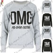 Ladies Novelty Jumper Sweater Womens OMG no one cares Printed Fleece Sweatshirt