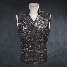 EMO GOTH STEAMPUNK dieselpunk VEST JACKET MILITARY Notched Lapel tapestry SILVER