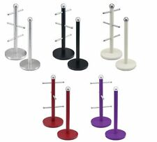 STAINLESS STEEL KITCHEN MUG TREE 6 CUPS MUGS STAND & TOWEL PAPER ROLL HOLDER NEW