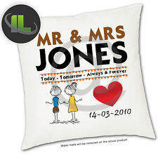 Personalised Mr & Mrs Wedding day cushion Cover.Add your own text -ILVC1085