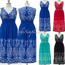 NWT JON & ANNA Paisley Print Smocked Shoulders Long Surplice Maxi Summer Dress