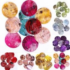 50pcs Mussel Shell Flat Round Coin Charm Beads 18mm Colorful