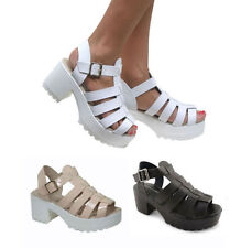 LADIES GLADIATOR CUT OUT PUNK SANDALS CLEATED SOLE CHUNKY BLOCK HEEL CAGED SHOES
