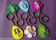 6x GIRLS KEYRINGS KEY CHAIN GIRL PARTY BAG FILLERS GIFT PLASTIC WOODEN BOOK TAGS