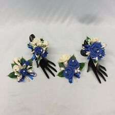 WEDDING FLOWERS/PROM LADIES CORSAGE PACKAGE ROYAL BLUE ROSES DIAMANTE CRYSTAL