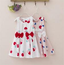Cute Kids Baby Girl Polka Dot Bubble Bow Knot Tops Tank Pleated Skirt Dress 2-7T