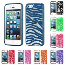 For Apple iPhone 5S/5 Transparent Clear (Zebra Skin) Gummy Case Cover