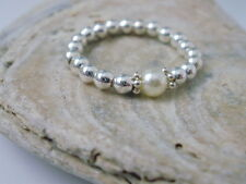 Finger Toe Stretch Ring Sterling Silver Beads made with Swarovski Pearl,Stacking