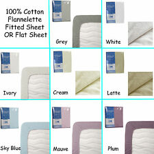 100% Cotton Winter Flannelette Fitted Sheet OR Flat Sheet CHOICE - SINGLE DOUBLE