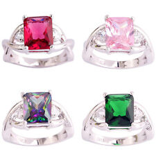 Emerald Cut Rainbow Pink White Topaz Gemstone Silver Ring Size 6 7 8 9 10 11