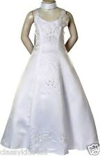 Girl Pageant Communion bridal Evening ball Formal dress size 4 6 8 10 12 White