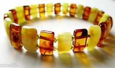 Genuine Baltic amber bracelet, multicolour rectangle shape nuggets, jewelry