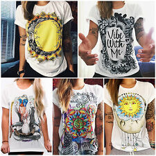 Womens Graphic Tee Top Short Sleeve Grunge T-shirts Letter Printed Outfit Blouse
