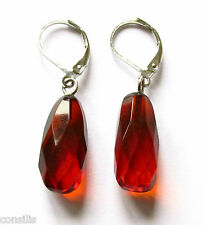 Genuine Baltic amber earrings, ruby oval faceted beads, 925 sterling silver