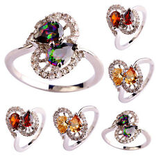Pear Butterfly Rainbow Topaz & Morganite Gemstone Silver Ring Size 5-12 Jewelry