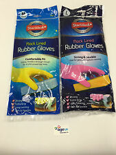 2 Pairs Flock Lined Rubber Gloves