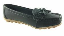 LADIES LEATHER MOCCASIN COMFORT WALKING SUMMER SHOES BOW DETAIL SIZE 3-8 BLACK