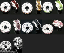 30 Silver Plated Rhinestone Rondelle Spacer Beads 6mm M0163