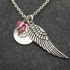 Personalized Angle Wing Necklace made with Swarovski Crystal Custom Letter Charm