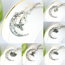 Charm Necklace Pendant Family Member Gift Letter Wife Mother Hollow Out Moon